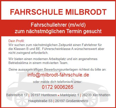 Fahrlehrer (m/w/d) gesucht im Landkreis Oldenburg. Bewerbungen an Thomas Milbrodt Tel.: +49 172 9006265 www.fahrschule-milbrodt.de