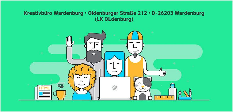 Kreativbüro Wardenburg: Webkonzepte • Onlinemarketing • Webseitenpflege • Grafik Service • Druckerei. Oldenburger Straße 212, 26203 Wardenburg https://www.kreativbuero-wardenburg.de